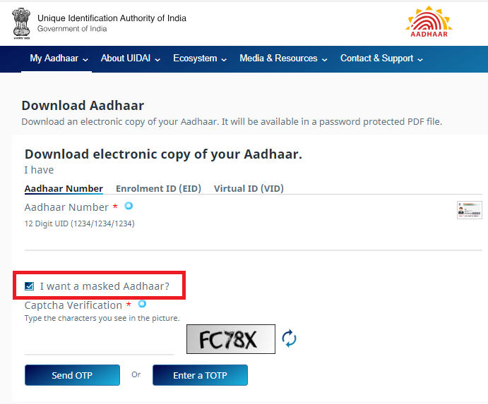 Downloading Aadhar Card Using Your Aadhar Number